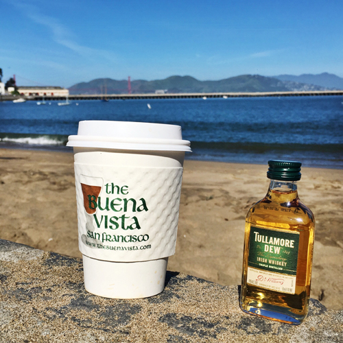 Drink your Irish coffee on the beach of course