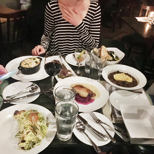 Dinner spread at Peche